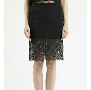 Topshop Black Deep Lace Bodycon Skirt